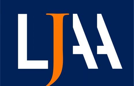 LJAA logo raides  CMYK spalvotas negatyvas JPG
